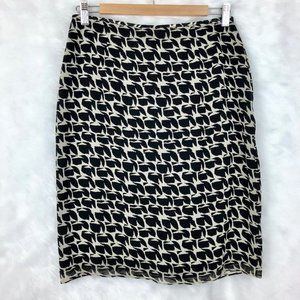 INC Black/Cream Pencil Skirt 100% Silk